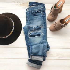 7 FOR ALL MANKIND Roxanne Patched Skinny Jeans 👖